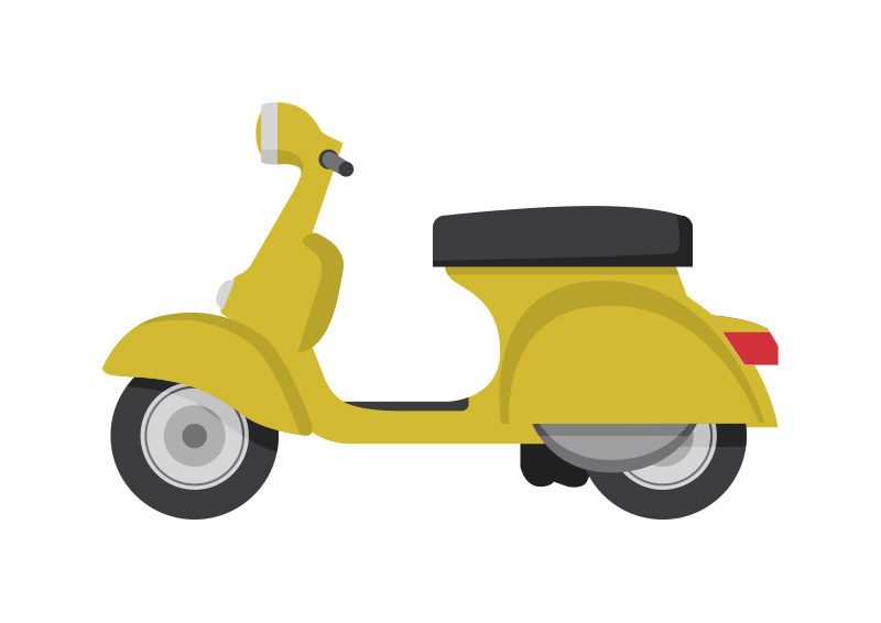 Yellow scooter. Clipart vintage x free