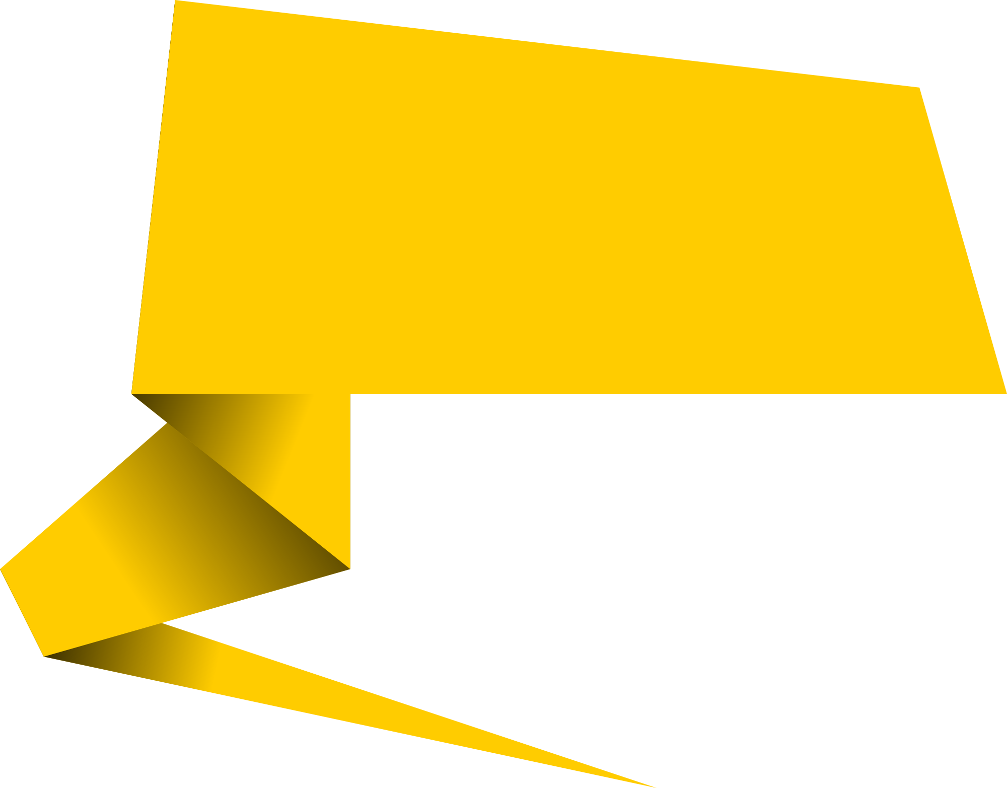 Yellow speech bubble png. Origami banner vector