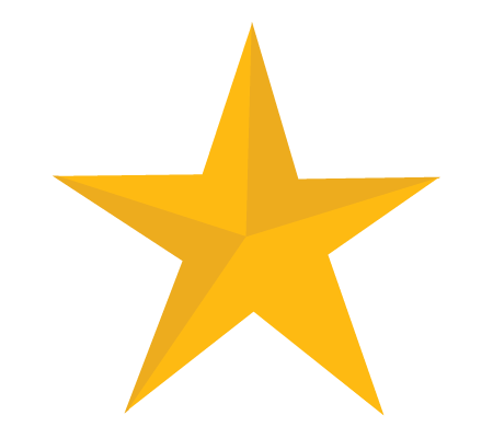 Yellow star png. One isolated stock photo