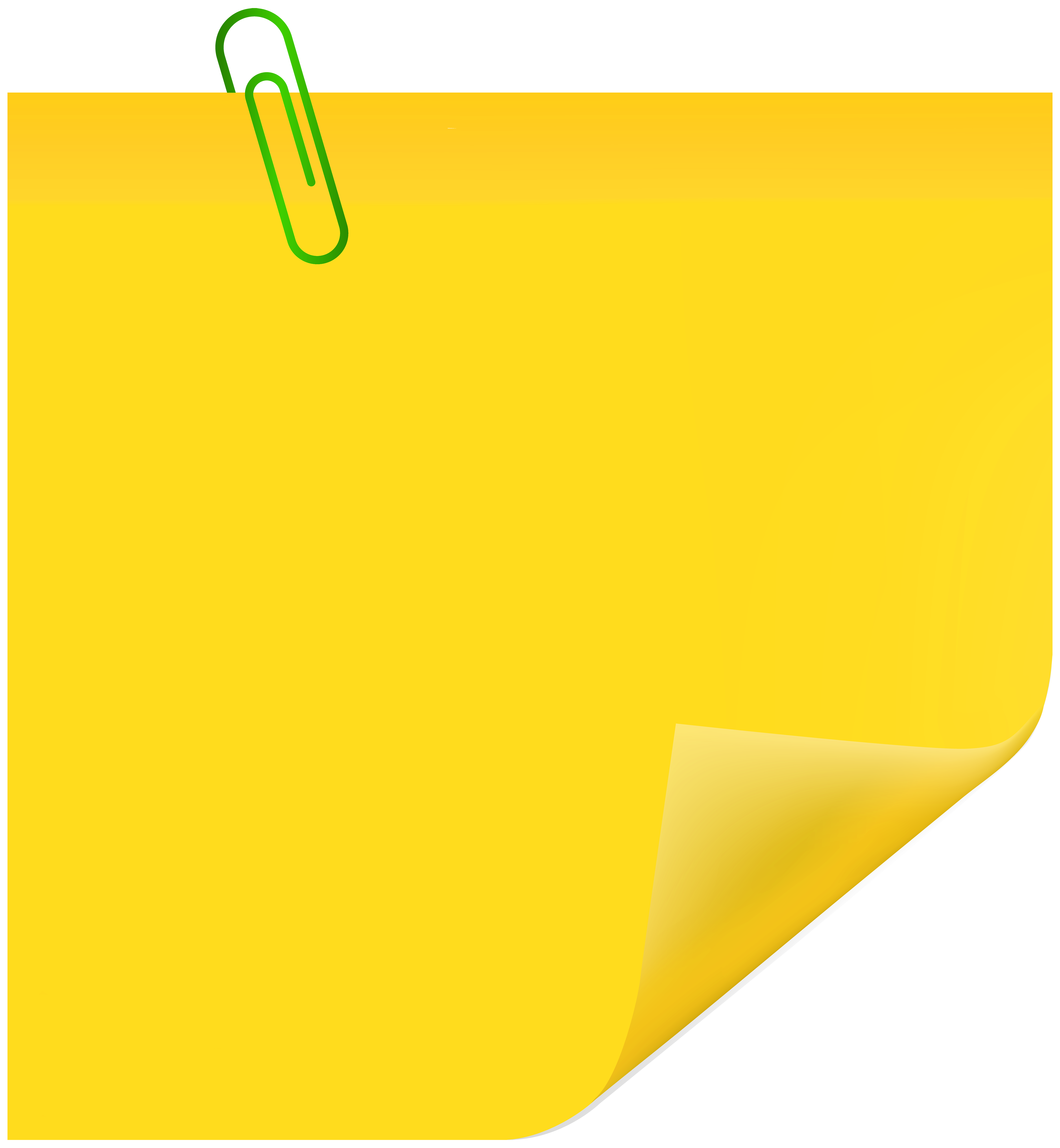 Yellow rectangle png. Sticky note with paperclip