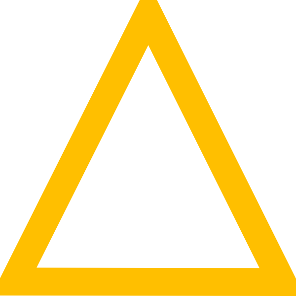 Vector outline triangle. Yellow clip art at