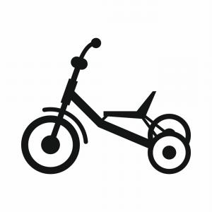 Yellow tricycle. Icon flat illustration