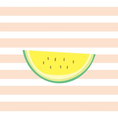 Yellow watermelon. On stripe background clipart