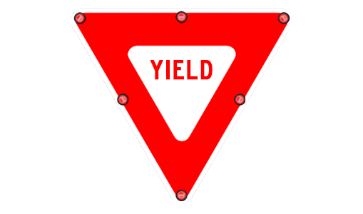 Flashing r solar traffic. Yield sign png image library stock