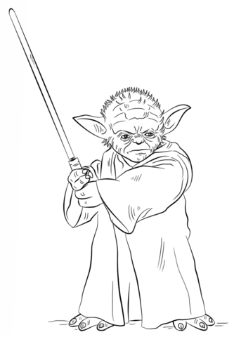 Yoda clipart coloring sheet. With lightsaber page free