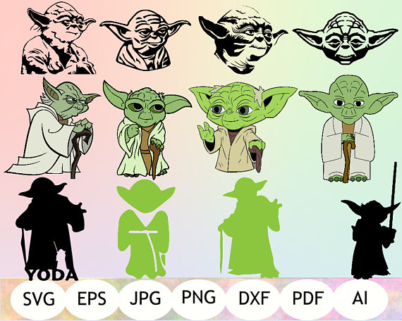 Yoda clipart printable. Svg instant download
