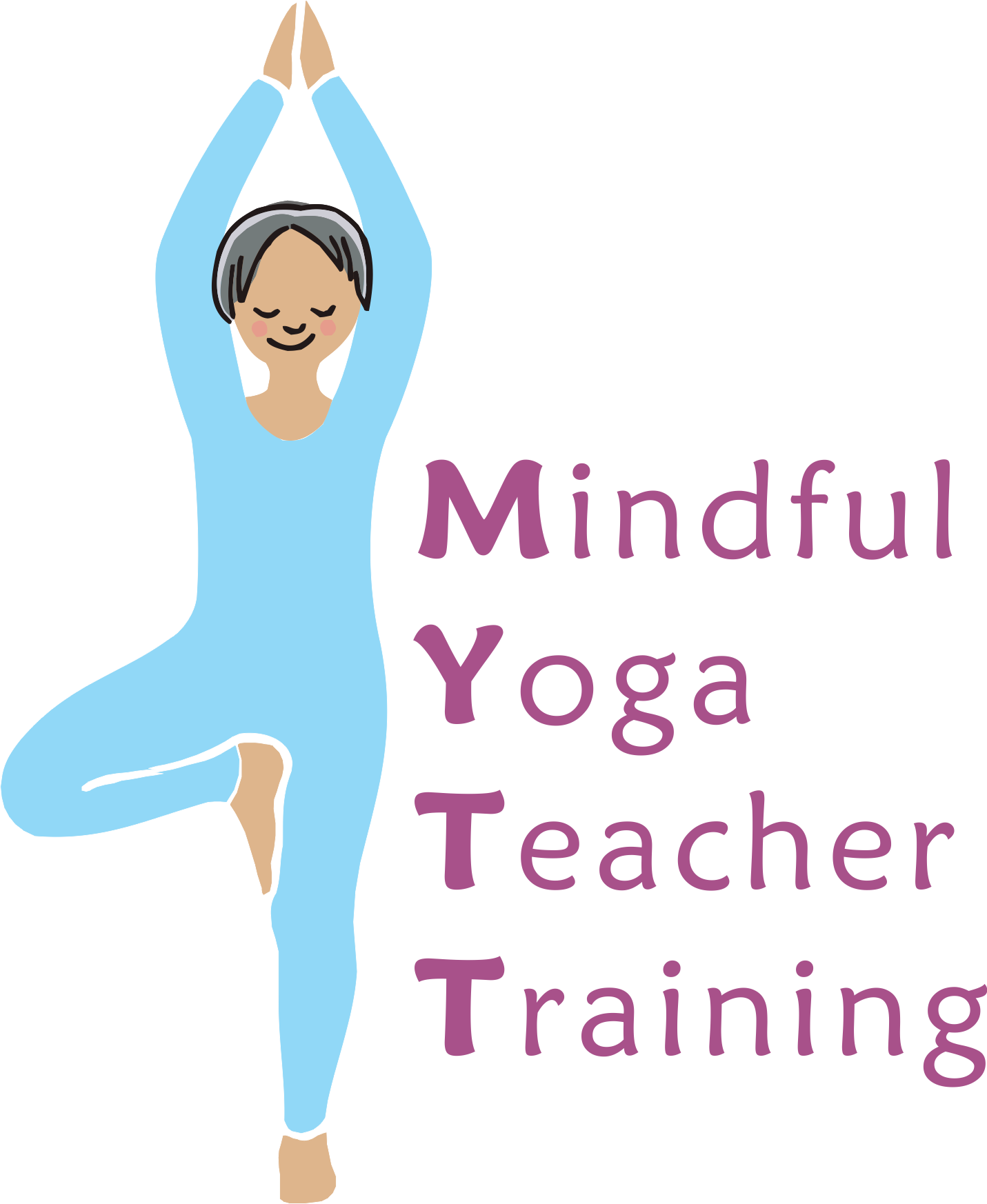 Yoga clip breathing technique. Vector library teacher