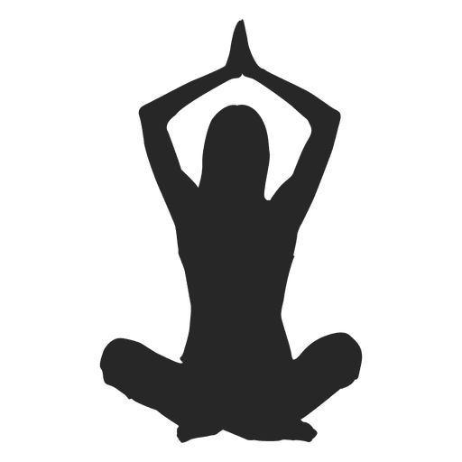 Yoga hands silloutte png. Girl doing transparent svg