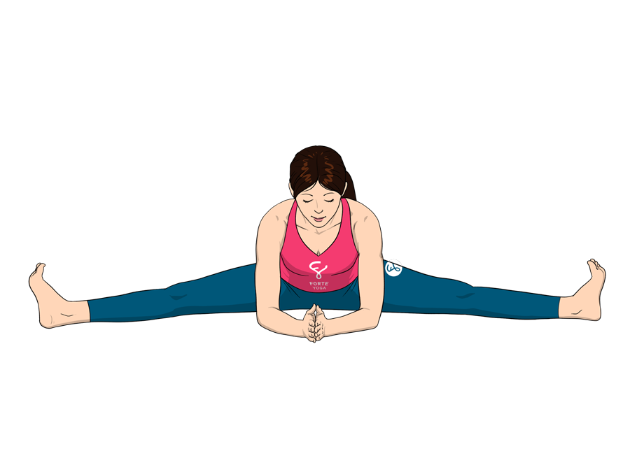 Yoga seated png. Wide angle forward bend