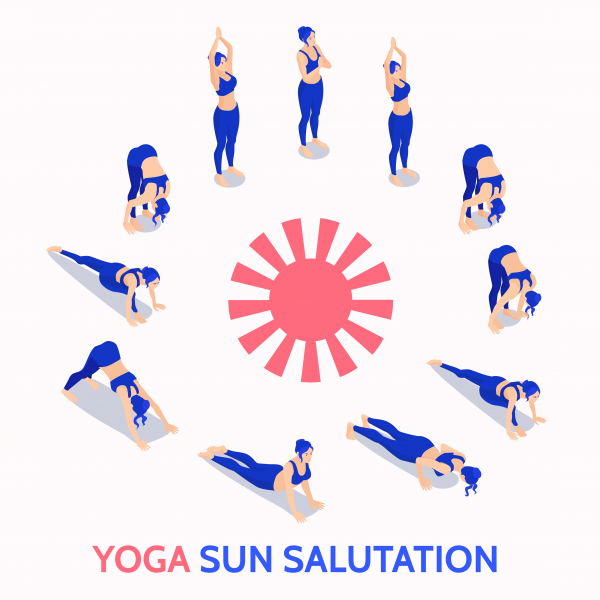 Yoga sun salutation routine daily practice isometric illustration concept.
