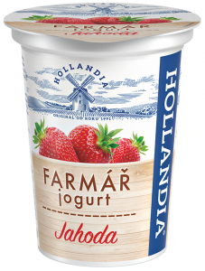 Yogurt transparent strawberry. Creamy farmer s hollandia