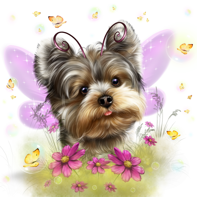 Fairy and butterflies dog. Yorkie clipart vector black and white stock