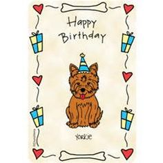 Yorkie clipart birthday. Happy cute card beautiful
