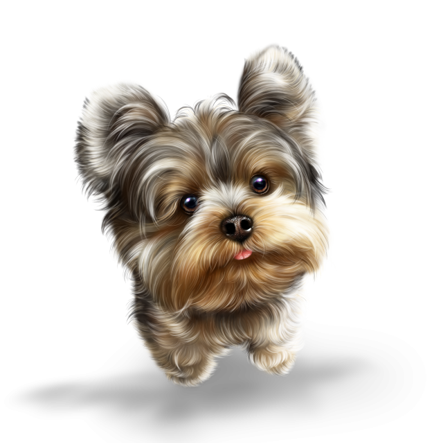 Yorkie svg kawaii. Fairy and butterflies dog