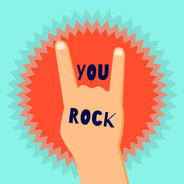 You rock flat design poster template with a devil. Devils horns sign