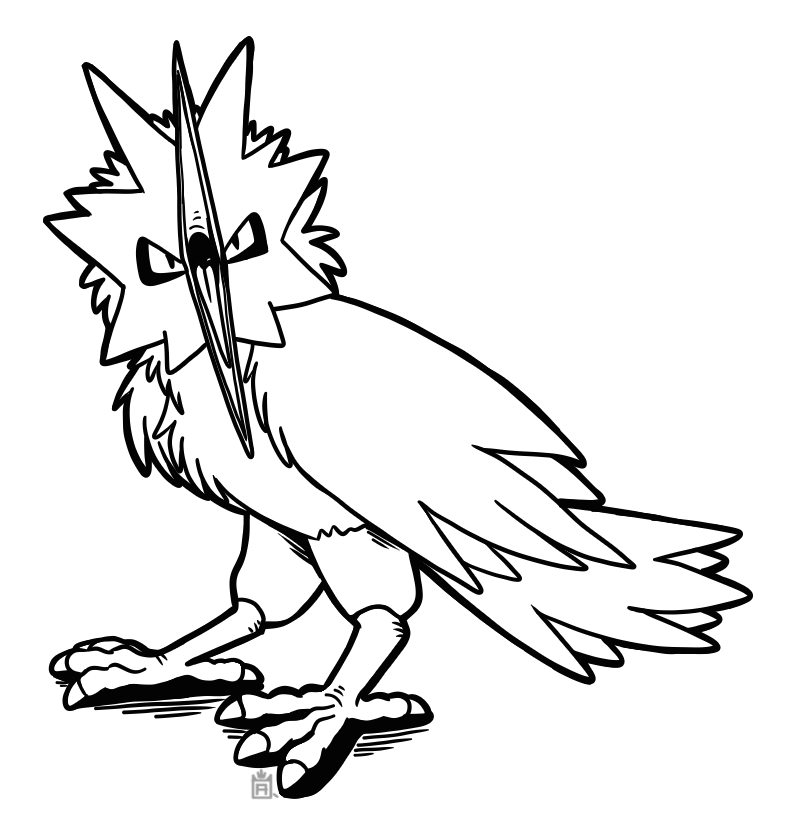 Free to use lineart. Zapdos drawing clipart black and white download