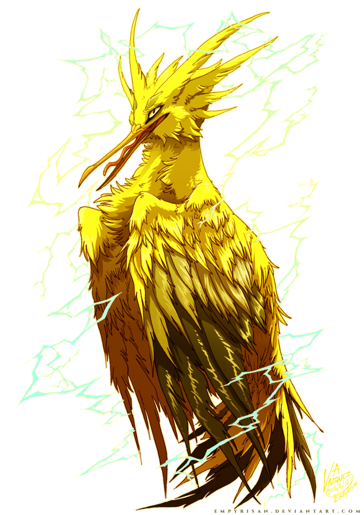 Pkm used thunder shock. Zapdos drawing realistic royalty free download