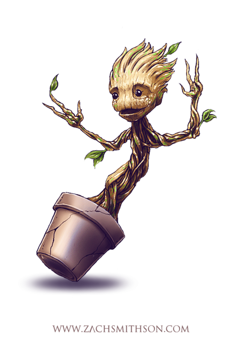 Zero drawing groot. An adorable baby for