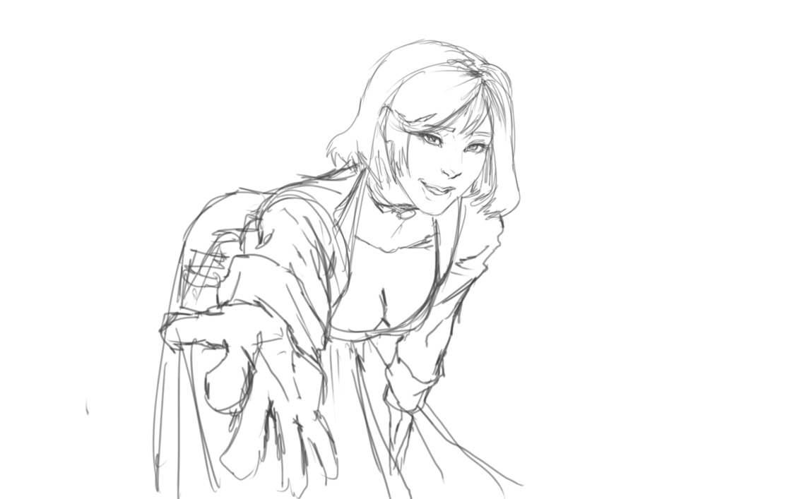 Zero drawing outline. Elizabeth by ryoni on