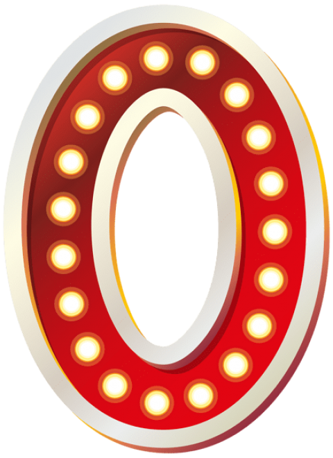 Zero transparent number. Red with lights png