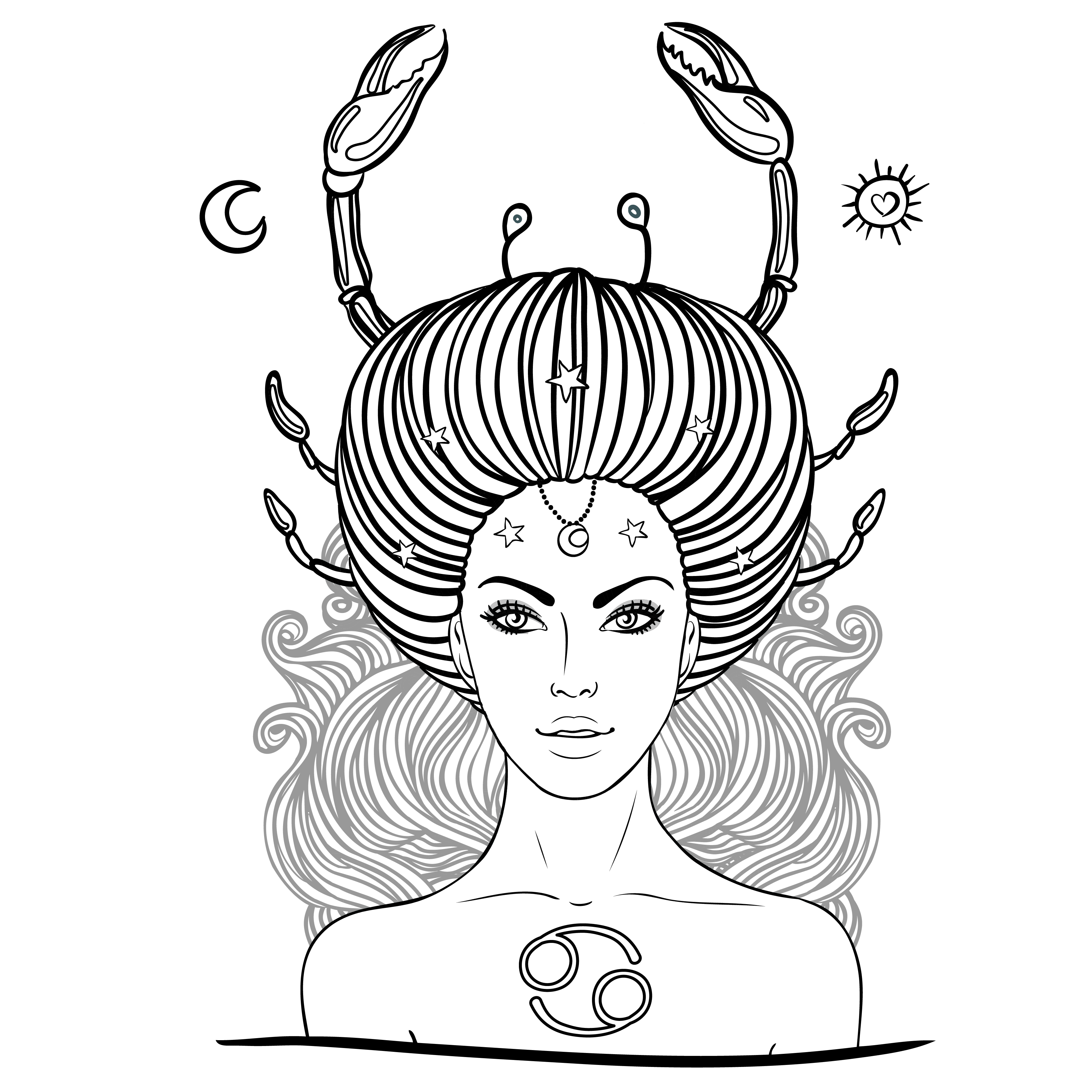 Zodiac drawing female. Cancer astrological sign coloring