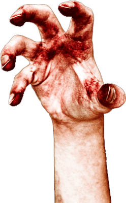 Zombie hands png. Bloody hand transparent stickpng