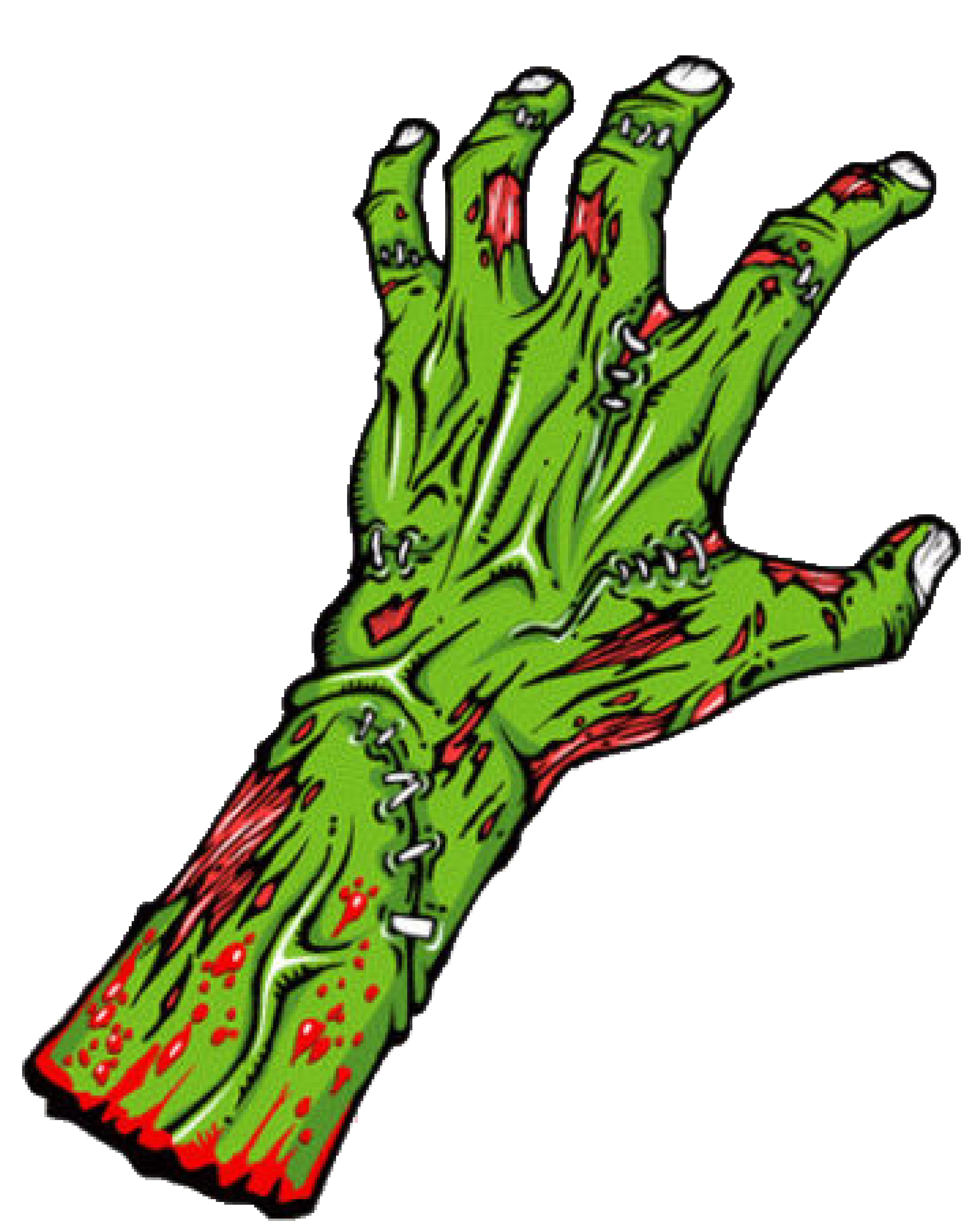Zombie arm png. Green hand transparent stickpng