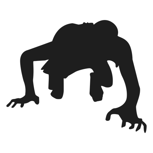 Vector zombie stencil. Crawling silhouette transparent png