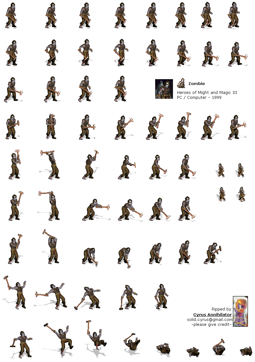 Zombie sprite png. Pc computer heroes of