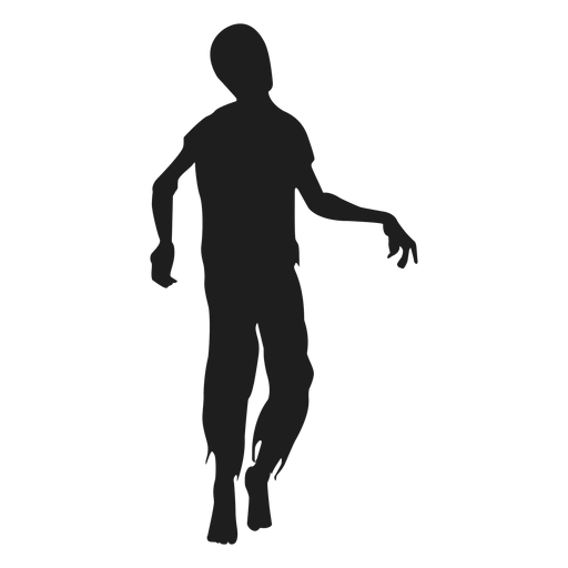 Vector zombie detailed. Walking silhouette transparent png