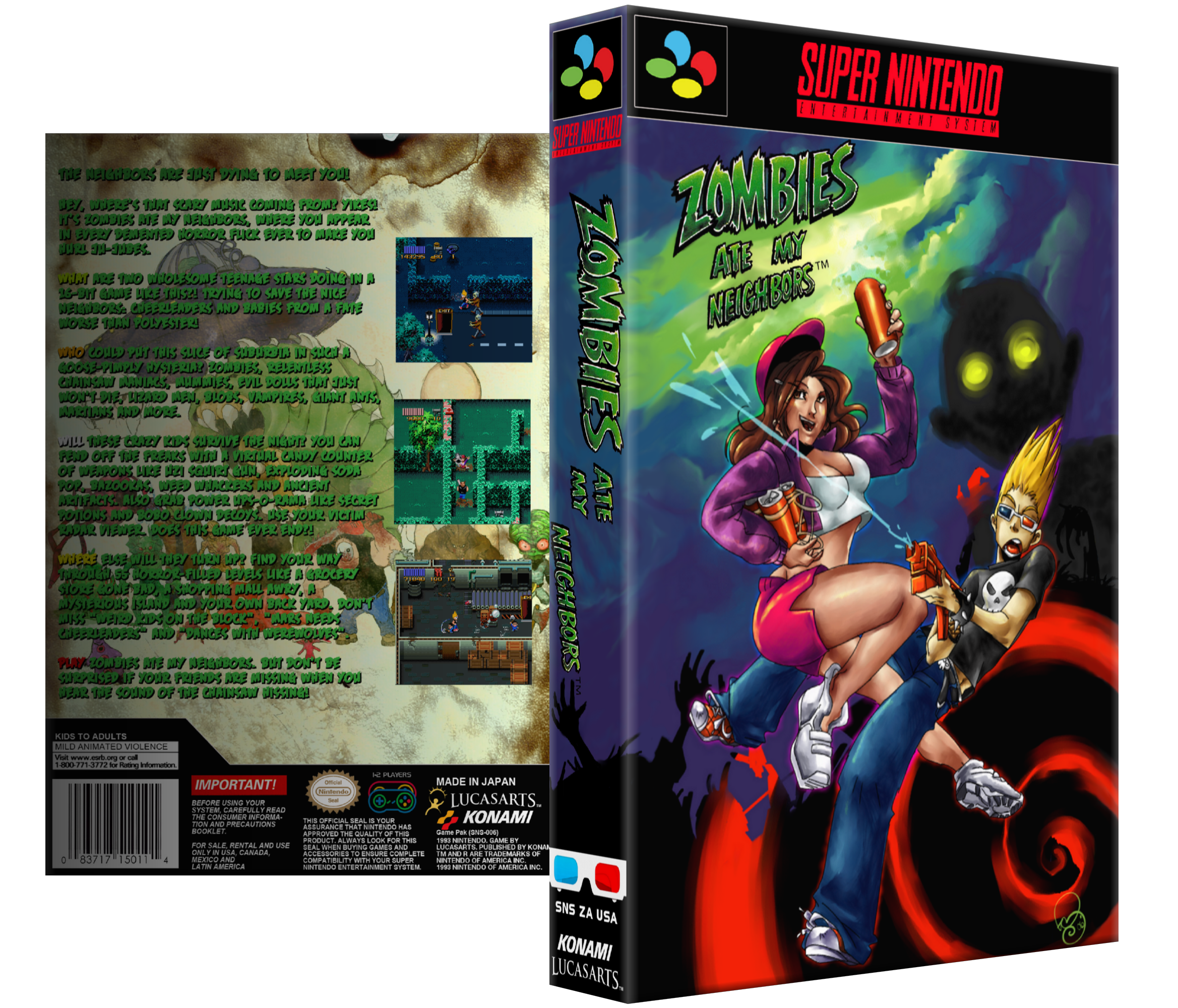 Zombies ate my neighbors png. Snes box art cover