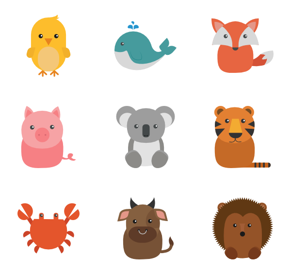 Zoo animal png. Icons free vector set