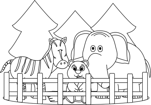 Zoo clipart. Black and white clip