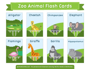 Animal flash cards learn. Zoo clipart english school graphic royalty free