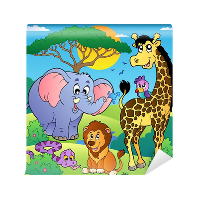 Zoo clipart scenery. Savannah with animals wall