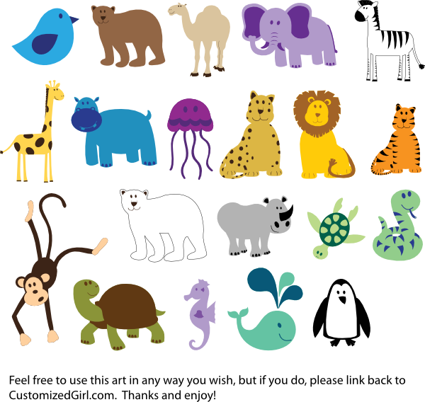 Free animals desktop backgrounds. Zoo clipart banner black and white library
