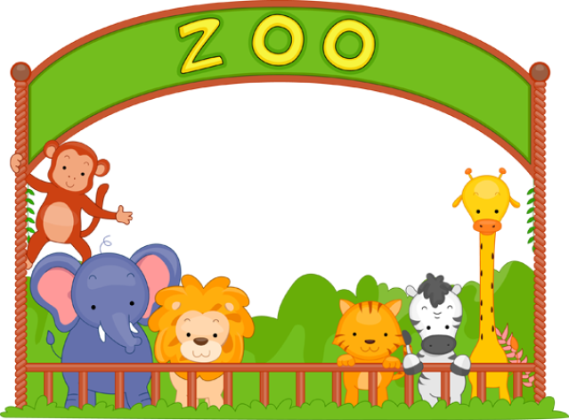 Zoo vector background. Svg black and white