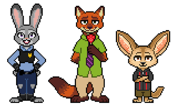Finnick zootopia png. Pixels judy nick by